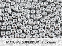SuperDuo 2.5x5mm Satin Metallic Silver - 10 g