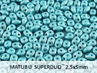 SuperDuo 2.5x5mm Satin Metallic Blue Turquoise - 10 g