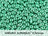 SuperDuo 2.5x5mm Satin Metallic Green Turquoise - 10 g