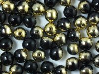 Round Beads Gold 1/2 Coated Jet 8 mm - 10 sztuk
