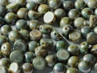 2-hole Cabochon Green Luster Picasso 6mm - 2 sztuki