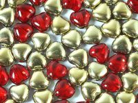 Hearts Gold 1/2 Coated Siam Ruby 6mm - 20 sztuk