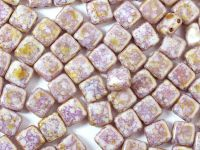 Squares 6mm White Senegal Purple - 20 sztuk