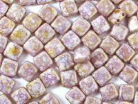 Squares 6mm White Senegal Purple - 20 sztuk