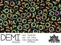 TOHO Demi Round 8o-508 Higher-Metallic Iris Olivine - 5 g