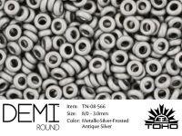 TOHO Demi Round 8o-566 Metallic-Silver-Frosted Antique Silver - 5 g