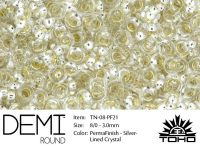 TOHO Demi Round 8o-PF21 Permanent Finish Silver-Lined Crystal - 5 g