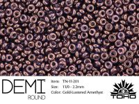 TOHO Demi Round 11o-201 Gold-Lustered Amethyst - 5 g