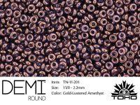 TOHO Demi Round 11o-201 Gold-Lustered Amethyst - 5 g