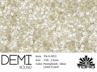TOHO Demi Round 11o-PF21 Permanent Finish Silver-Lined Crystal - 5 g