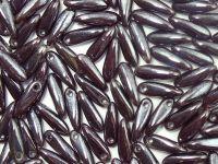 Dagger Beads Luster Opaque Caramel - Chocolade 10x3mm - 20 sztuk