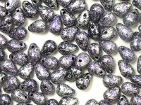 Puffy Teardrops Metallic Marble Violet 6x4mm - 20 sztuk