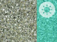 TOHO Round 11o-PF2701S Glow In The Dark - Permanent Finish Silver-Lined Crystal - Blue Splash - 10 g