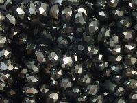 Szklane oponki fasetowane hematytowe 4x3 mm - sznur