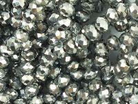 Szklane oponki fasetowane platynowe 4x3 mm - sznur