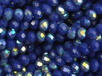 Szklane oponki fasetowane kobaltowe AB 4x3 mm - sznur
