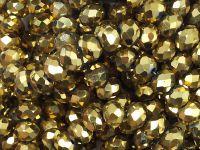 Szklane oponki fasetowane antyczne złoto 6x5 mm - sznur