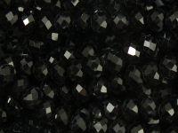 Szklane oponki fasetowane czarne 6x4 mm - sznur