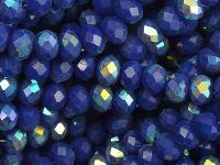 Szklane oponki fasetowane kobaltowe AB 6x4 mm - sznur