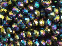 Szklane oponki fasetowane metaliczne pawie oko 6x5 mm - sznur