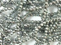 Hematyt srebrny kula fasetowana 3 mm - sznur 40 cm