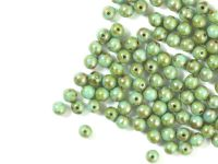 Round Beads Blue Turquoise - Picasso Silver 4 mm - opakowanie