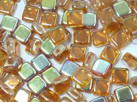 Silky Beads Flat 6mm Crystal Orange Rainbow - 20 sztuk