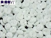 Piggy Beads Opaque White 8x4 mm - 20 sztuk