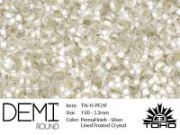 TOHO Demi Round 11o-PF21F Permanent Finish Silver-Lined Frosted Crystal - 5 g