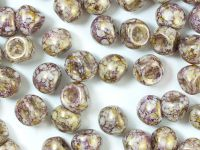Mushroom Beads White Senegal Purple 9x8mm - 10 sztuk