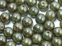 Round Beads Opal Green Luster Picasso 8 mm - 10 sztuk