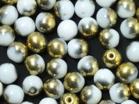 Round Beads Gold 1/2 Coated Alabaster 6 mm - 20 sztuk