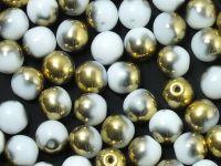 Round Beads Gold 1/2 Coated Alabaster 6 mm - 20 sztuk