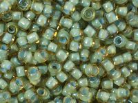 TOHO Round 6o-952 Inside-Color Rainbow Lt Topaz - Sea Foam Lined - 10 g