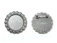 Baza broszki II pod kaboszon 25 mm kolor srebrny - 1 sztuka