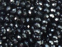 Szklane oponki fasetowane antracytowe 4x3 mm - sznur