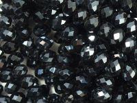Szklane oponki fasetowane antracytowe 6x4 mm - sznur