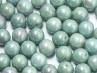 Round Beads Luster - Metallic Sea Foam 8 mm - 10 sztuk