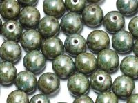 Round Beads Green Luster Picasso 8 mm - 10 sztuk