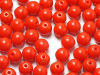 Round Beads Opaque Red 6 mm - 20 sztuk