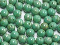 Round Beads Opaque Turquoise - Picasso Silver 6 mm - 20 sztuk