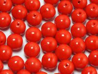 Round Beads Opaque Red 8 mm - 10 sztuk