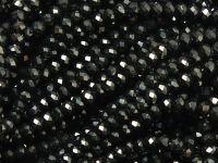 Szklane oponki fasetowane czarne 3x2 mm - sznur