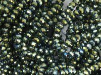 Szklane oponki fasetowane metaliczna morska zieleń 3x2 mm - sznur