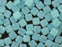 Squares 6mm Matte Milky Aquamarine - 20 sztuk
