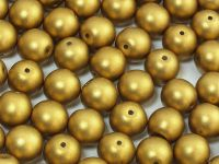 Round Beads Satin Metallic Olive Gold 8 mm - 10 sztuk