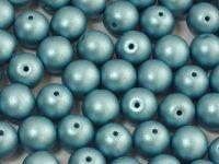 Round Beads Shine Satin Metallic Blue Turquoise 8 mm - 10 sztuk
