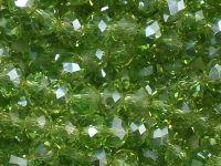 Szklane oponki fasetowane jasnozielone błyszczące 6x4 mm - sznur