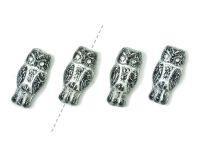 Owls Jet - Silver Inlay 15x7 mm - 4 sztuki