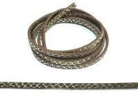 Rzemień ekologiczny brązowy - srebrny wzór 5 mm - 120 cm